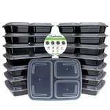 Freshware 15-Pack Three Compartment Lunch, Meal Prep, and Food Storage Containers