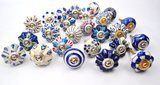 Karmakara Blue and White Ceramic Cabinet Knobs