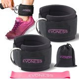 Evoness Ankle Straps for Cable Machines and Resistance Band plus Carry Bag