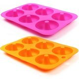 Hehali 6-Cavity Silicone Donut Baking Pan/Non-Stick Donut Mold