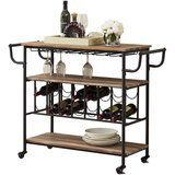 HOMYSHOPY Industrial Bar Cart with Wine Rack and Glass Holder