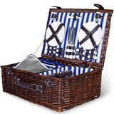 Summerease Deluxe 4-Person Woven Willow Picnic Basket Set
