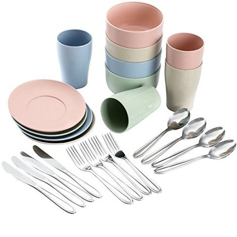 VGEBY1 Camping Cookware Set 3Pcs Stainless Steel Picnic Tableware with Cover